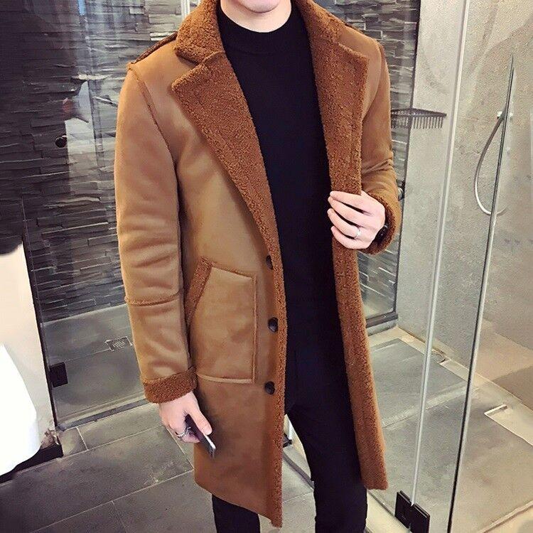 Da Uomo in Pelle Pelle Pelle di Agnello Pelliccia sintetica con bavero Cappotto Cotone Inverno Caldo Giacche Imbottito Nuovo HOT 1730dc