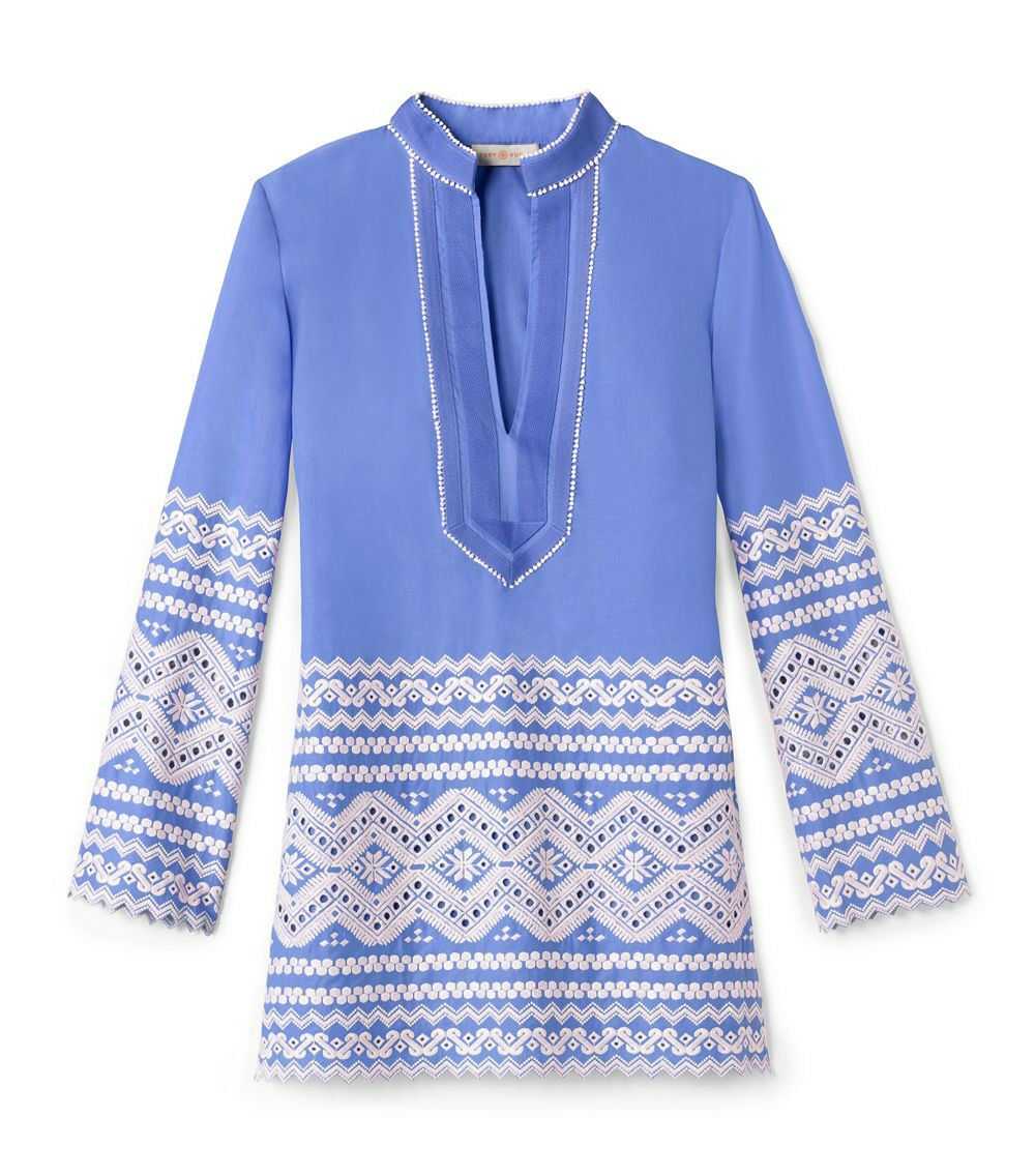 Tory Burch Tory Zita Embroiderot Tunic 10 Blau Swim Classic Cruise L