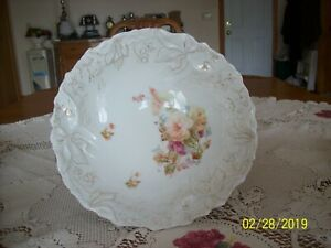 Porcelain-China-Antique-Serving-Bowl-Peach-amp-Purple-Spring-Floral-Pattern