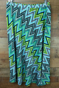 Sunny-Leigh-Skirt-Stretchy-Maxi-Zig-Zag-Blue-Green-Elastic-Waist-Plus-Size-1X