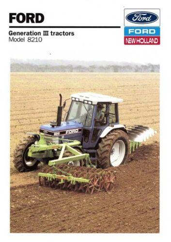 Ford Tractor 8210 New Holland folleto de ventas//cartel anuncio Cubierta A3
