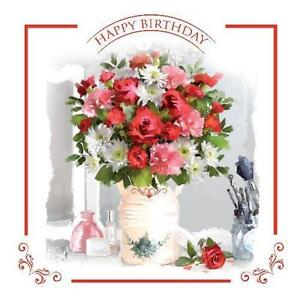 Image Is Loading Happy Birthday Vase Flowers Perfume Roses Design Female