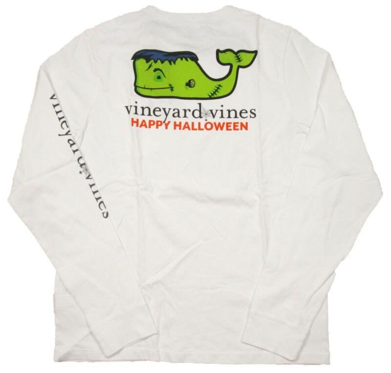 Vineyard Vines Boys White Frankenstein Halloween Whale Graphic Pocket L/s Shirt
