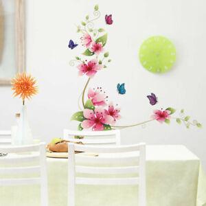Flores-mariposas-pared-Sticker-naturaleza-murales-pared-Pegatina-Sticker