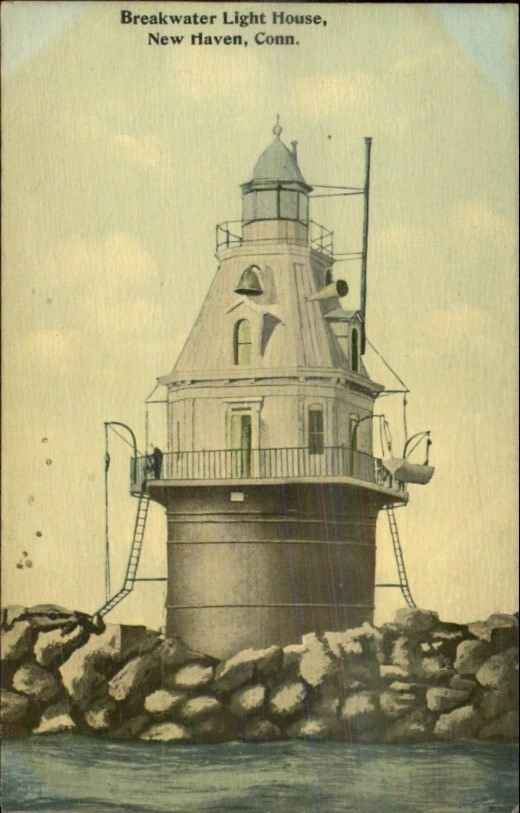 New Haven CT Breakwater Lighthouse c1910 Postcard