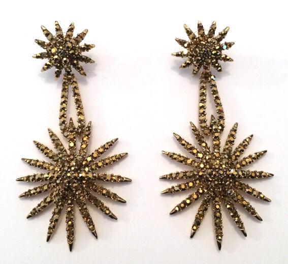 Butler et Wilson or Cristal Starburst Boucles D'Oreille Nouveau