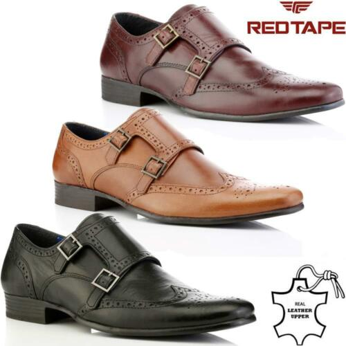 Mens Leather Brogue Shoes New Smart Office Wedding Work Formal Monk Strap Shoes