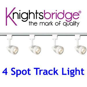 knightsbridge clairage sur rail set kit 4x spot gu10 led. Black Bedroom Furniture Sets. Home Design Ideas