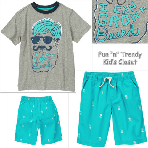 NWT Crazy 8 Boys Size 5 or 6 Skull /& Bones Shorts Tee Shirt Top 2-PC OUTFIT SET