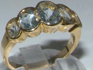 9ct-Yellow-Gold-Ladies-Large-Aquamarine-5-Stone-Ring