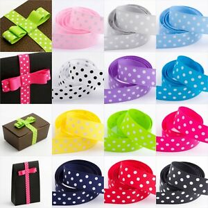 Polka-Dot-Grosgrain-Ribbon-15mm-and-25mm-12-Colours