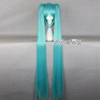 Vocaloid Hatsune Miku Light Blue 130cm Cosplay Wig Halloween +2 Long Ponytails