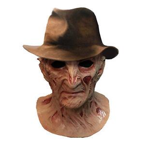 Freddy Krueger Nightmare Elm Street 4 Full Latex Mask & Hat Halloween Costume