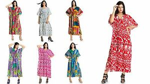 560572c8890 Indian Kaftan Cotton Plus Size Women Dress Caftan Tunic Gown Ikat ...