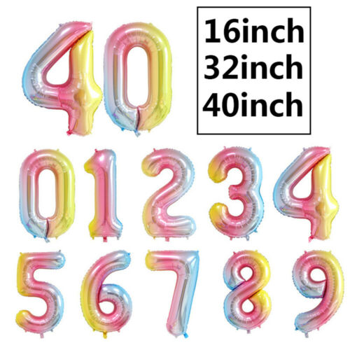 Large 0 1 2 3 4 5 6 7 8 9 Number Foil Ballons Birthday Party Gradient Balloons