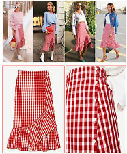 ZARA - GINGHAM CHECKED RUFFLE MIDI SKIRT WITH BUTTONS - XS UK 8 - BNWT