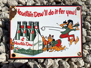 VINTAGE MOUNTAIN DEW SODA PORCELAIN SIGN OIL GAS STATION DRINK POP PETROLIANA