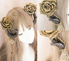 Gothic Lolita Hair Accessories Devil Horns Gears Gold Rose KC Hairpin Party 2Pcs