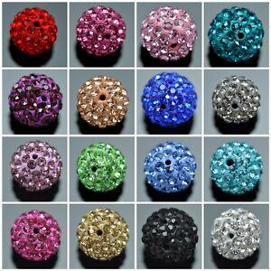 Small-Hole-Premium-Shamballa-Crystal-Pave-Clay-Disco-Ball-Round-Beads
