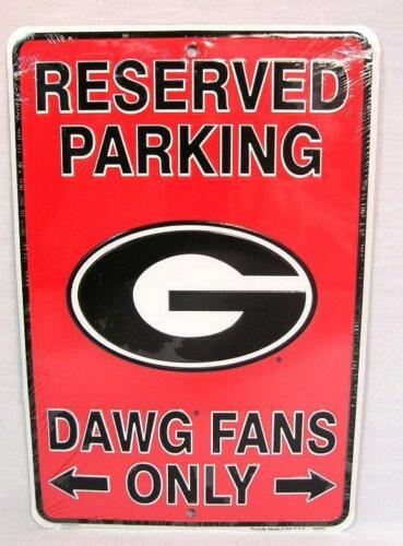 Reserved Parking Georgia Dawg Fans Only Aluminum Metal Sign Man Cave Bulldogs