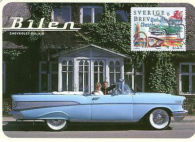 Automobilia Auto & Motorrad: Teile Schweden 1997 Exquisite Handwerkskunst; Sonnig Chevrolet Bel Air Postkarte Mit Chevrolet Bel Air Briefmarke