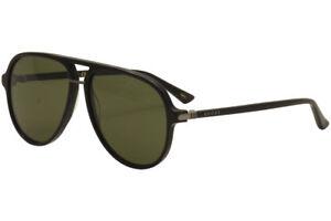 3690915c22c78 Gucci Men s GG0015S GG 0015S 001 Black Fashion Pilot Sunglasses 58mm ...