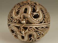Old Tibet Silver Copper Hand Carved Dragon Phoenix Statue Incense Burner Buddha