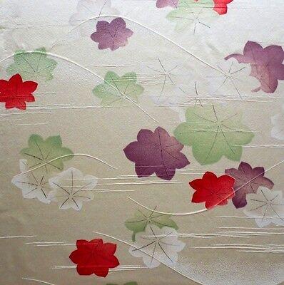 "Vintage Kimono Quilt Silk Fabric Yellow Flower Lovely Style 112cm 44"" #09"