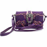 Vintage Buckle Wristlet Wallet Croc Skin Long Strap Cross Body Smallpurse Purple