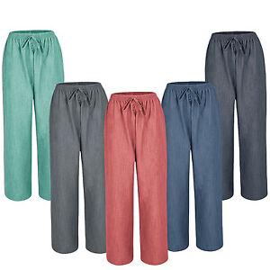 559b5577866a1 New Ladies Women Pull On Summer Linen Look Wide Leg Trousers Plus ...