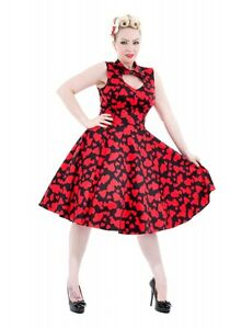 H-amp-R-LONDON-BLACK-RED-SWEETHEART-HEART-COCKTAIL-HALTER-50s-PINUP-VINTAGE-DRESS