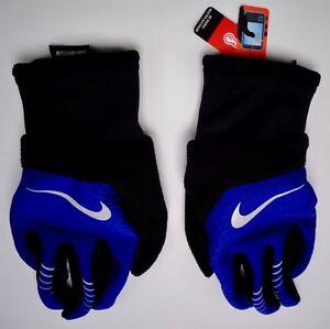Nike Pour Homme Élément Thermique 2.0 Course Gants Noirs / Profond Royal Bleu /