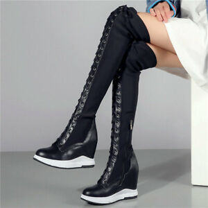 Women's Lace Up Cow Leather Knee High