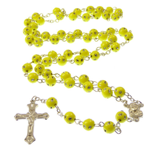 Yellow plastic round rosary beads with silver spotted detail 53cm length long