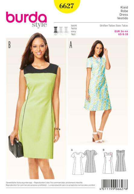 Burda 6627 Schnittmuster Damen Kleid Robe leicht ausgestellt | eBay