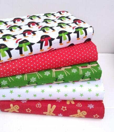 Noël 2019 tissu matériau faisceaux Fat Quarters ou Grands Carrés Poly Coton