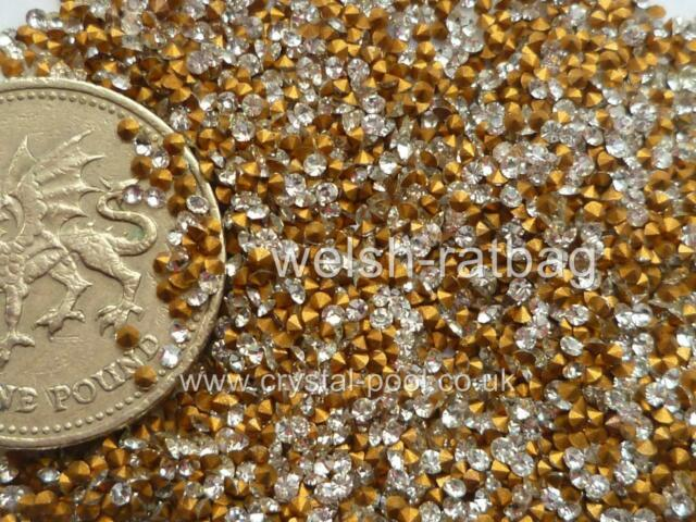 60 x Preciosa 3ss / 7pp Crystal diamanté gold-foiled chatons