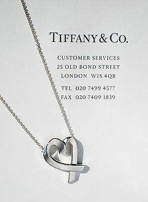 Tiffany & Co Sterling Silver Paloma Picasso Large Loving Heart 20 Inch Necklace