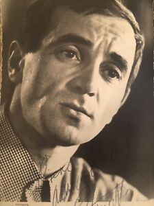 Dedicace Photo Original Charles Aznavour Sur Une Carte 1950