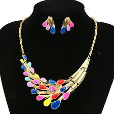 Retro Womens Alloy Enamel Peafowl Bib Collar Choker Necklace Earring Jewelry Set