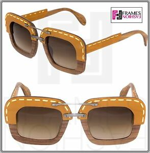 dfdef7db257c PRADA RAW Nut Canaletto Brown Leather Brown Wood Sunglasses Square ...