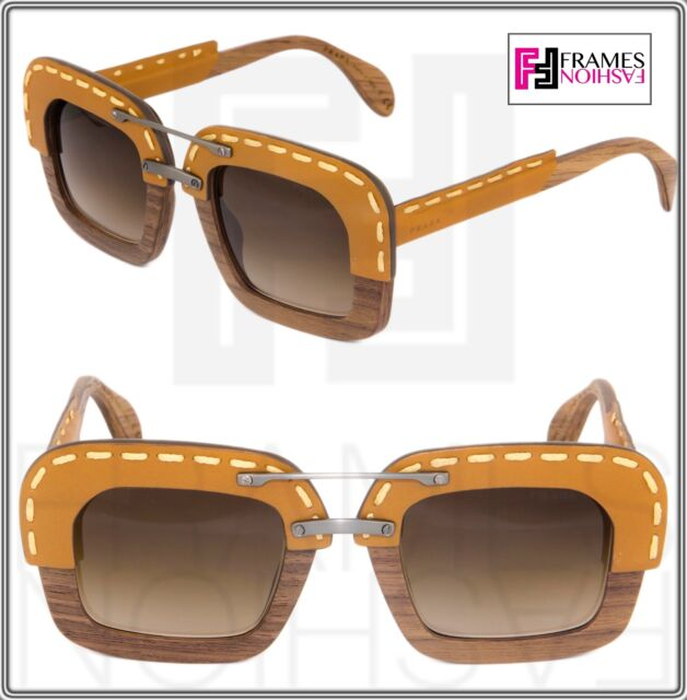 7f17947747 PRADA RAW Nut Canaletto Brown Leather Brown Wood Sunglasses Square PR26RS  26R