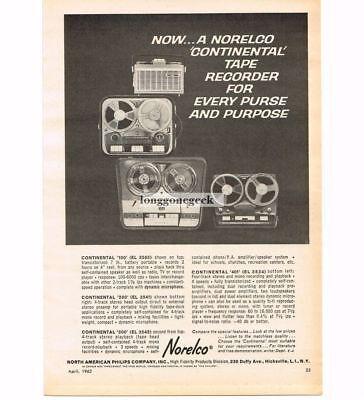 Brave 1963 Norelco Continental 100 200 300 400 Reel-reel-tape Deck Recorder Vtg Ad 1960-69
