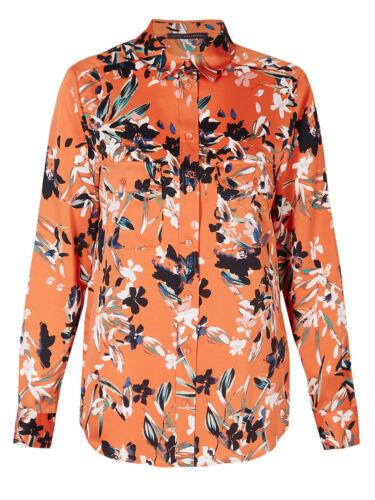 New M/&S Ladies Orange Floral Print Shirt Long Sleeve Blouse Size 12-20 RPR £25