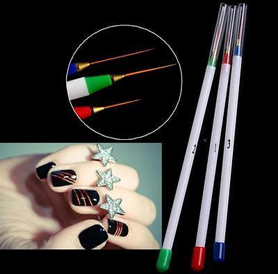 3pcs Nail Art Design DIY Acrylic Draw Painting Striping UV Gel Pen Brush Set DIA
