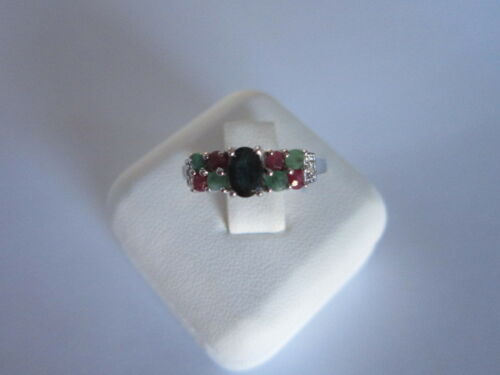Stylish 9 Stone Sterling Silver Ruby Emerald Black Sapphire Ring 925  size 6