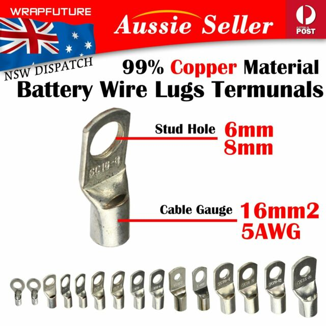 16MM 5B&S Wire End Connector Copper Terminal Cable Lugs Rings Eyelets Hole M6 M8