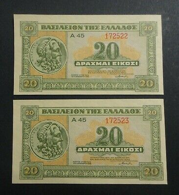 Greece 2 x 20 Drachmas 1940 WWII consecutive numbers!!!