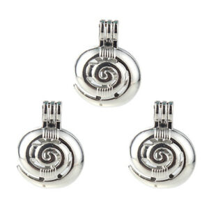 5x-Silver-Plated-Swirl-Spiral-Pearl-Cage-Locket-Pendant-Essential-Oil-Diffuser