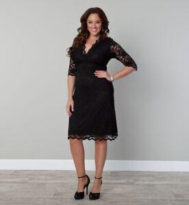 Kiyonna-Women-039-s-Dress-Plus-Size-3X-Black-Scalloped-Boudoir-Lace-Style-LBD-Party